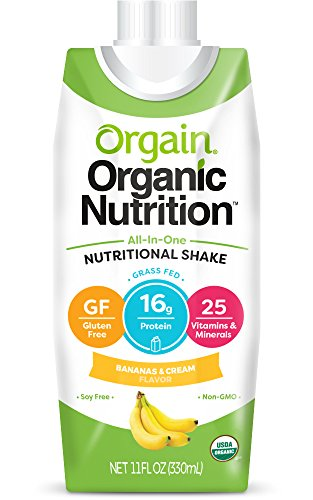 Orgain Organic Nutrition Shake, Bananas and Cream, Gluten Free, Kosher, Non-GMO, 11 Ounce, Pack of 12, Packaging May Vary