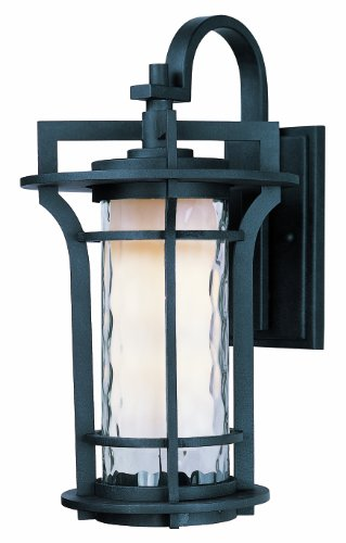Maxim 30485WGBO Oakville 1-Light Outdoor Wall Lantern, Black Oxide Finish, Water Glass Glass, MB Incandescent Incandescent Bulb , 12W Max., Damp Safety Rating, 3000K Color Temp, Standard Triac/Lutron or Leviton Dimmable, Shade Material, 840 Rated Lumens