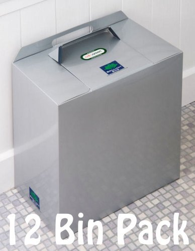 Disposable Sanitary Bins - 12 Pack of Brilliant Bins: Award Winning, Low Cost, No Contracts bins in Silver Grey Metallic colour. Seiquelle Innovation Ltd Silver Brilliant Bins 12 bin pack