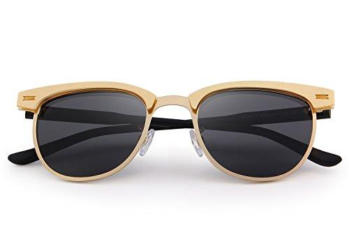 MERRYS Semi Rimless Polarized Sunglasses Women Men Retro Brand Sun Glasses S8116 Gold