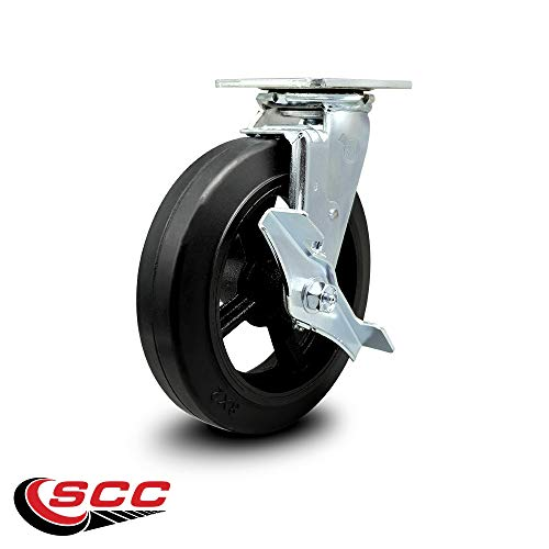 Service Caster - 8'' x 2'' Rubber on Cast Iron Wheel Caster Set - 2 Swivel w/Brakes/2 Rigid - 2,000 lbs Total Capacity - Set of 4 by Service Caster (Image #3)