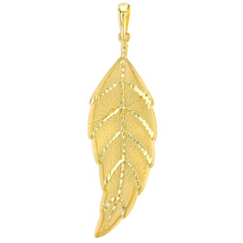 Solid 14K Yellow Gold Textured Bohemian Leaf Pendant