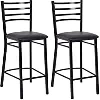 Costway Black Metal Counter Stools with Full Back Bar and Upholstered Cushion Seats, Set of 2