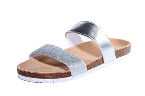 U&U Women's Silver Classic Double Strap Slide-on Sandal Size 7 B(M) US (Double Strap Slides compare prices)