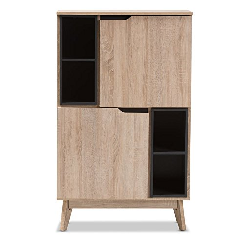 Storage Cabinet 2 Tone Finishing 2 Doors Each Door Reveals 3 Shelving Spaces 4 Open Shelves A Perfect Blend of Classic and Modernity