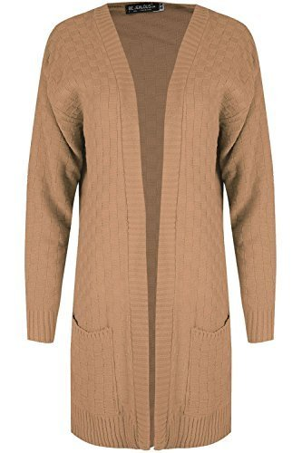 Oops Outlet Women Checker Board Knit Duster Top Ladies Long Sleeve Open Front Cape Cardigan S/M (UK 8/10) Camel BE JEALOUS
