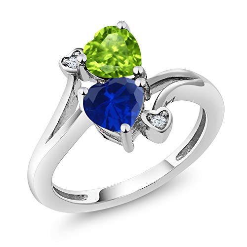 Sapphire Natural Green (1.66 Ct Heart Shape Green Peridot Blue Simulated Sapphire 925 Silver Ring (Size 8))