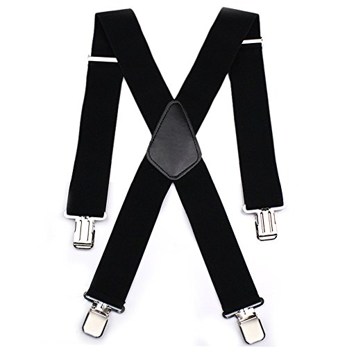 Mens X Shape Braces Adjustable and Elastic Suspenders with A Very Strong Clips - Heavy Duty 50MM Wide