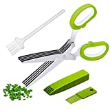 Multipurpose Herb Scissors and Stripper Set - Kale and Herb Razor Stripping Tool, 5 Blade Herb Shears with Cover,Cleaning Comb and Brush - Cutter, Chopper, Mincer for Herb by Oojdzoo