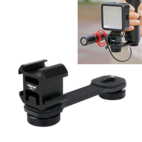 Cold Shoe Mount Extension Bracket for Gimbal, Triple Hot Shoe Microphone Led Video Light Stand Rig Mount Plate Adapter for Zhiyun Smooth 4/Smooth Q/DJI OSMO Mobile 2/Feiyu Vimble 2 Gimbal Stabilizer ()