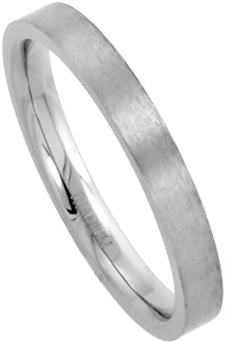 3mm Titanium Wedding Band Thumb Ring Toe Ring Thin Plain Flat Comfort-Fit Brushed, sizes 5 - 12