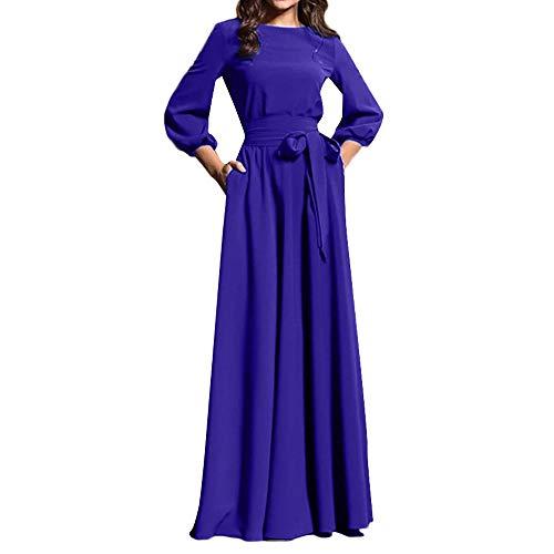 Landfox Maxi Dress, Boho Sundress,Women Boho Long Maxi Evening Party Beach Dress Dark Blue -