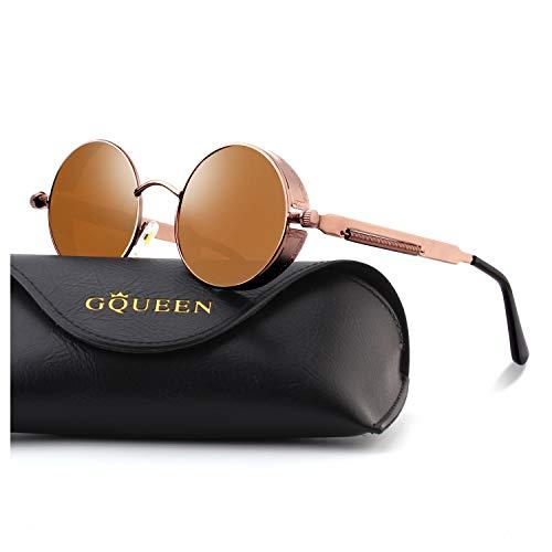 GQUEEN Retro Round Circle Steampunk Sunglasses Polarized Metal Alloy for Women Men MTS2 -