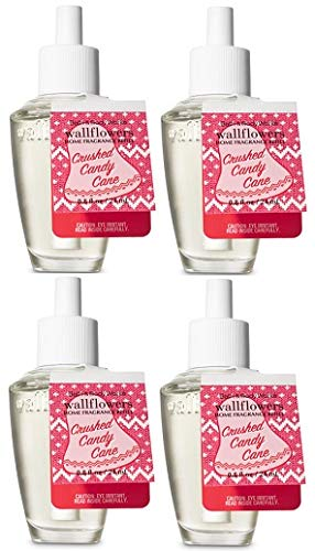 Bath and Body Works Crushed Candy Cane Wallflowers Fragrances Refill. 0.8 Oz. 4 Set.