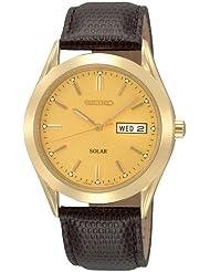 Seiko Mens SNE052 Solar Strap Champagne Dial Watch