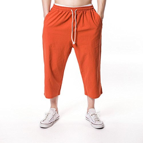 Mens Trouser Inverlee, Men's Jogging Fitness Flax Casual Loose relaxatio Drawstring Pure Color Pant (M, Orange)