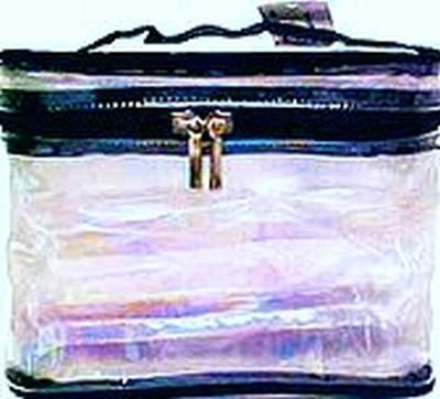 Cosmetic Bags-Sicara Clear Oval Train Case 16 pcs sku# 903929MA by A.J. Siris