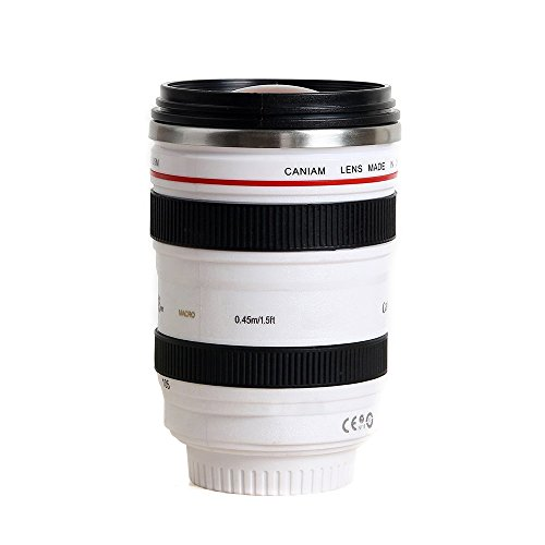 Happy Hours - Leakage-proof 400ML Canon 24-105 Camera Zoom Lens Cup Travel Coffee Mug Outdoor SLR Camera 4-105 Lens Shape Unique Water Thermos with Drinking Lid and Bag Quality Stainless Steel Interior (White)
