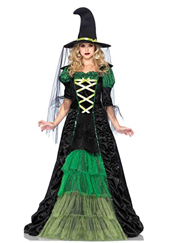 Leg Avenue Women's 2 Piece Storybook Witch Costume, Black/Green, Small/Medium