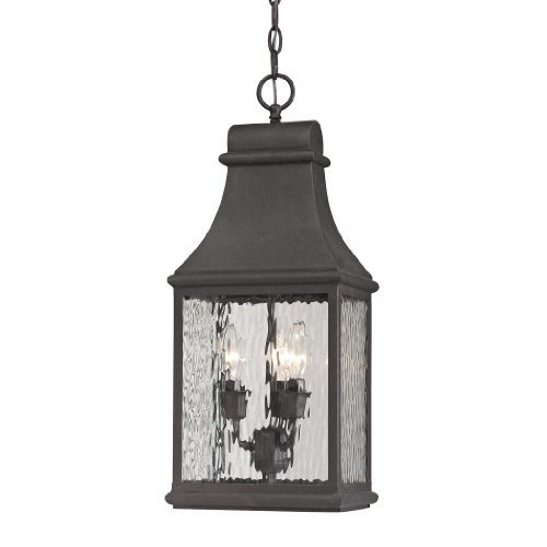 Forged Jefferson Collection 3 light outdoor pendant in Charcoal - Jefferson Collection 3 Light