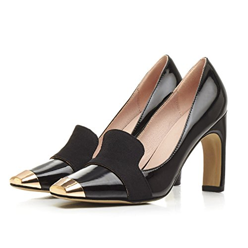 AIWEIYi toe Women Square Pumps Platform Heels Black Dress on Slip Shoes High fqfZrxnFw