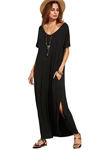 MakeMeChic Women's Casual Loose Pocket Long Dress Short Sleeve Split Maxi Dress Black M