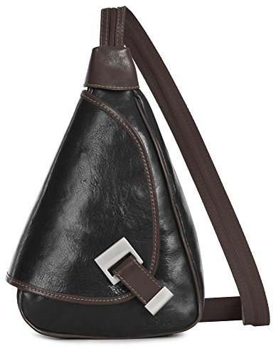 'mila' Of Liatalia - 2in1 - Small Shoulder Bag For Lightweight Backpack Convertible Woman In Black Genuine Italian Leather - With Brown Border