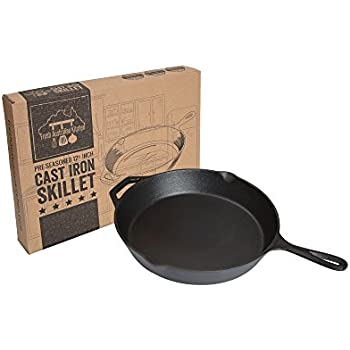 Fresh Australian Kitchen Pre-Seasoned Cast Iron Skillet 12.5 Inch.