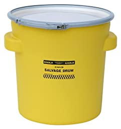 Eagle 1654 Yellow Blow-Molded HDPE Salvage Drum with Metal Ring Lever-Lock Lid, 20 gallon Capacity, 21\