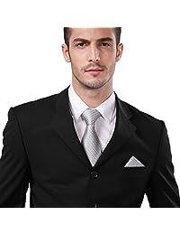 Landisun 53N Silver Grey Polka Dots Mens Silk Neck Tie Set