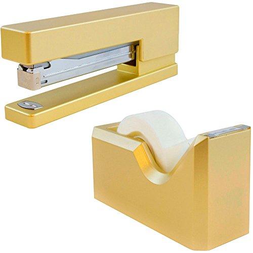 JAM PAPER Office & Desk Sets - 1 Stapler & 1 Tape Dispenser - Gold - 2/Pack - Gold Tape Dispenser