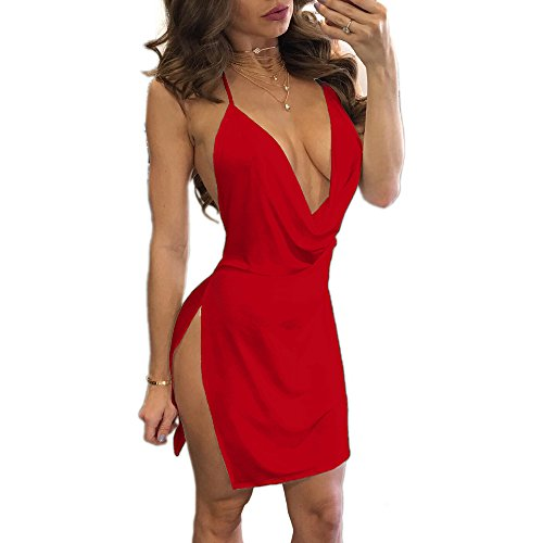 VANCOL Women's Sexy Deep V-Neck Halter Backless Slit Mini Party Club Dress (S, Red)
