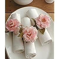 AGAAS ENTERPRISES Decorative Flower Napkin Rings or Tissue Holderfor Wedding Christmas Decoration Dinner Parties (Set of 6)