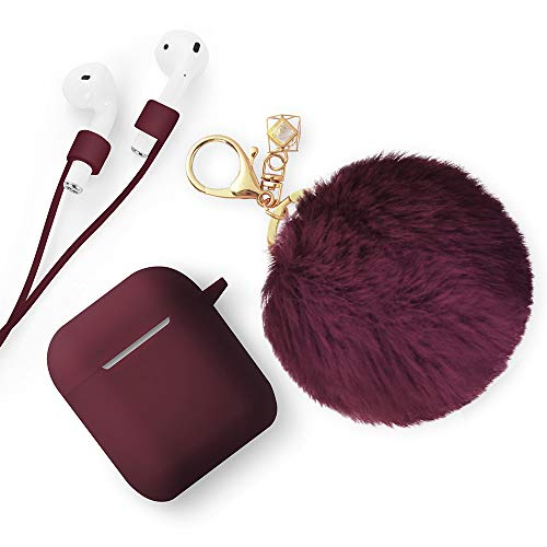 ODUMDUM Apple AirPods Case, Cute Case Drop Proof (Silicone Skin and Cover) with Fluffy Fur Ball Keychain and Anti-Lost Strap for Apple Wireless Headset, Gift for Girls, Lady, Wine