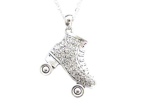 Sports Accessory Store Roller Skate Clear Crystals Silver Chain Fashion Necklace]()