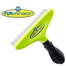 FURminator Pro Long Dog Hair Brush for Undercoats Comb Dematting Tool with Rotating Teeth Grooming Rake Separates and Untangles Fur in Long Dense Coats 4 inch Wide Head