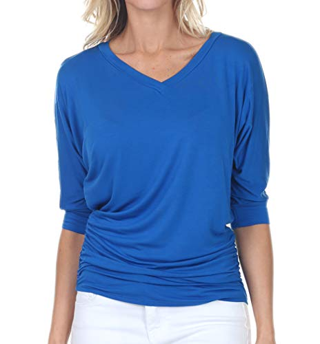 (iliad USA 7006 Womens V-Neck 3/4 Sleeve Side Shirring Drape Dolman Top RoyalBlue S)