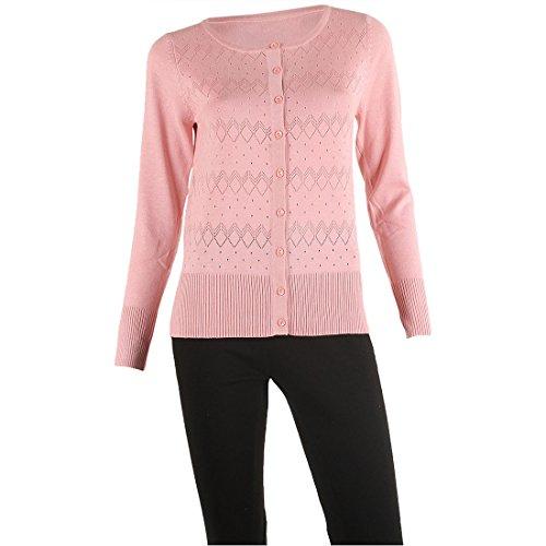 SIONI Women's 'Fine Gauge ' Knit Long Sleeve Sweater Cardigan,Peony Pink,M