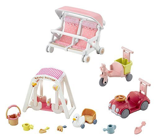 3 Play Sets - Car and Trike, Baby Swing and Double Baby Carriage Sets (Japan Import)