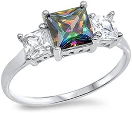 Princess Cut Mystic Simulated Topaz Cubic Zirconia Ring Sterling Silver (Sizes 3-13)