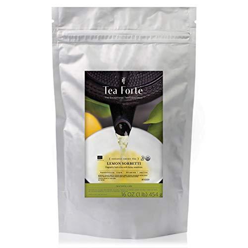 Tea Forte Organic Green Tea, Makes 160-170 Cups, 1 Pound Pouch Loose Bulk Tea, Lemon Sorbetti