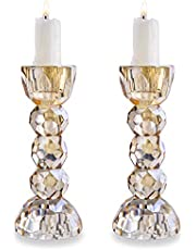 QF 2 Pack Crystal Glass Candle Holder Candlesticks Dinner Table Decor for Home