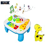 Baby Music Learning Table with Giraffe Plush Toy, Early Educational Activity Center for Toddler Boys and Girls