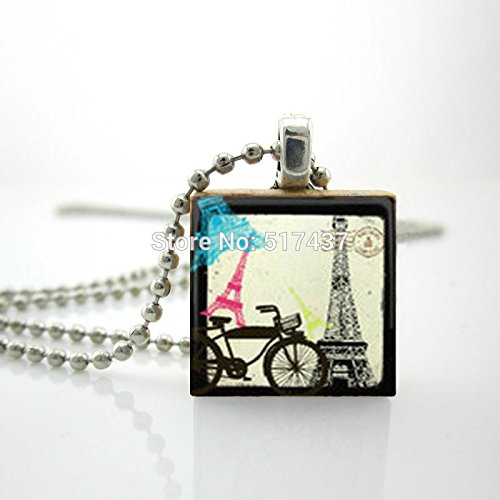 Pretty Lee Personalized Jewelry Paris Vacation Necklace Scrabble Tile Pendant With Ball Chain Included ()