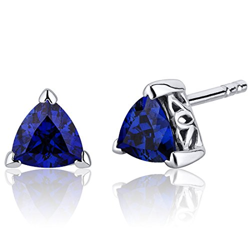 Sapphire Trillion Earrings - Created Blue Sapphire Trillion Stud Earrings Sterling Silver 2.00 Carats