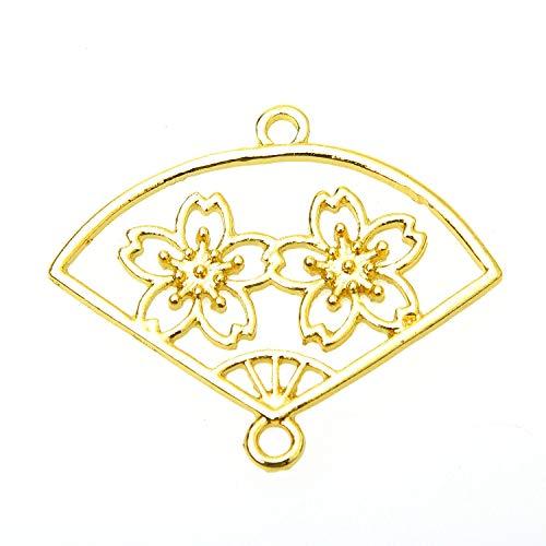 Monrocco 10Pcs Open Back Pendant, Cherry Blossom Fan Pendant Tray-Alloy Open Bezel Charm Blank Frame Pendants for Jewelry Making ()