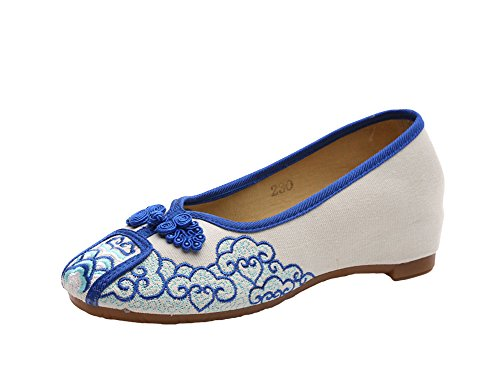 Avacostume Mujeres Frog Design Slip-on Casual Loafer Zapatos Azul