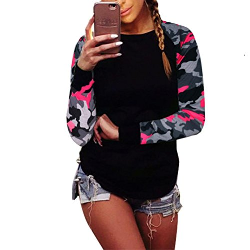 Lisingtool Women Long Sleeve Shirt Casual Blouse Tops T Shirt (L, Hot Pink) (T Shirt Romper For Women)