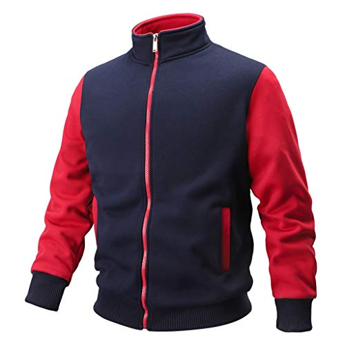WUAI-Men Winter Coat Casual Lightweight Patchwork Bomber Jackets and Coats Plus Size(Dark Blue,US Size S = Tag M)