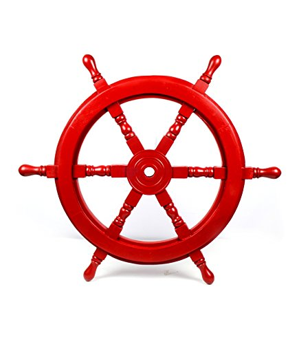 Nautical Handcrafted Wooden Ship Wheel - Home Wall Decor - Nagina International (24 Inches, Red ) (Children's Outdoor Wooden Furniture Australia)
